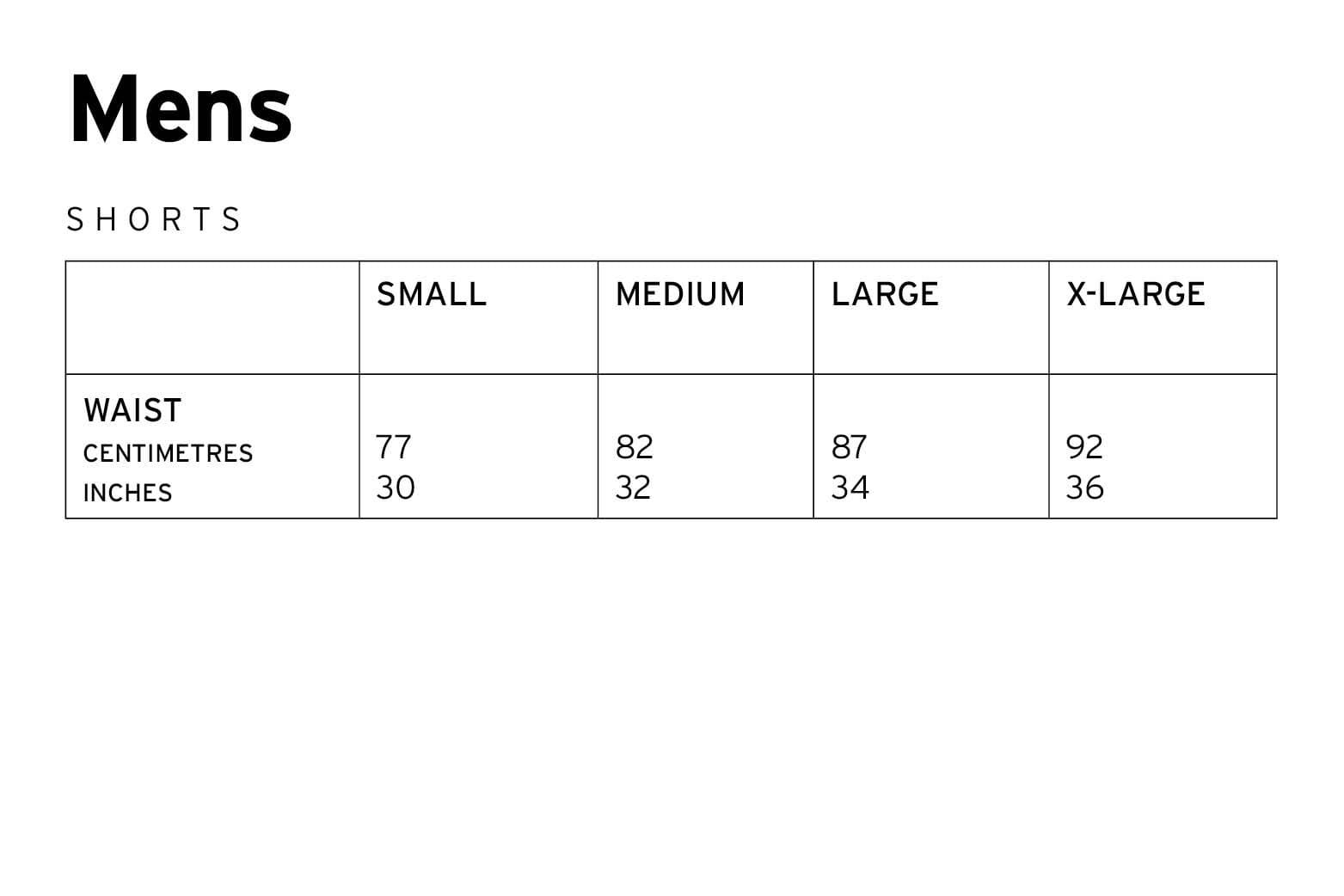 Mons Royale Mens Shorts Size Chart