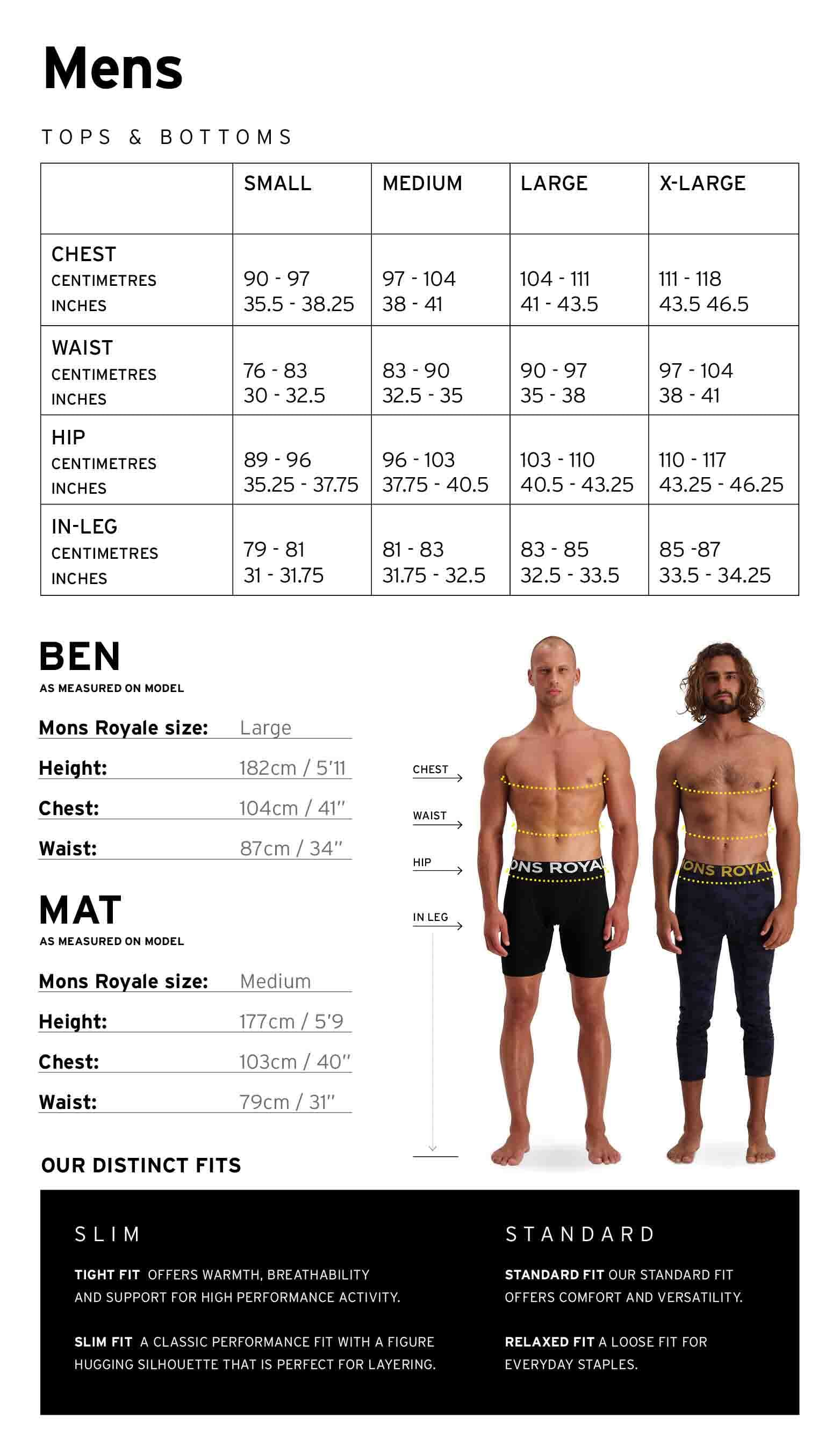 Mons Royale Mens Size Chart
