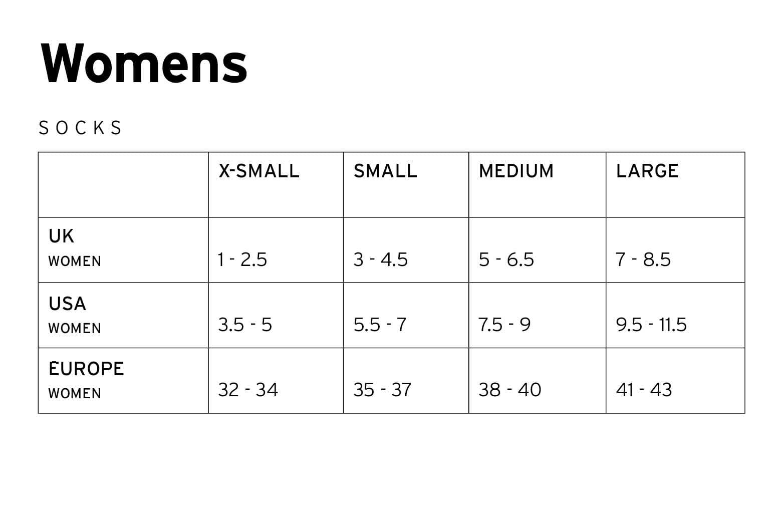 Mons Royale Womens Socks Size Chart