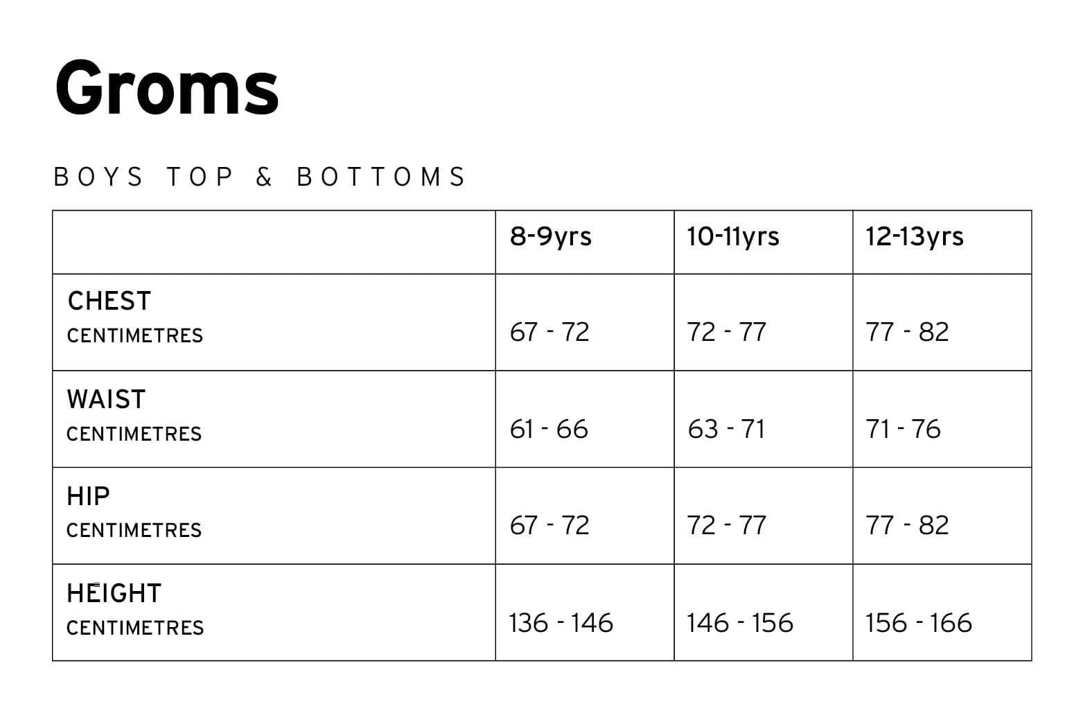 Mons Royale Boys Size Chart