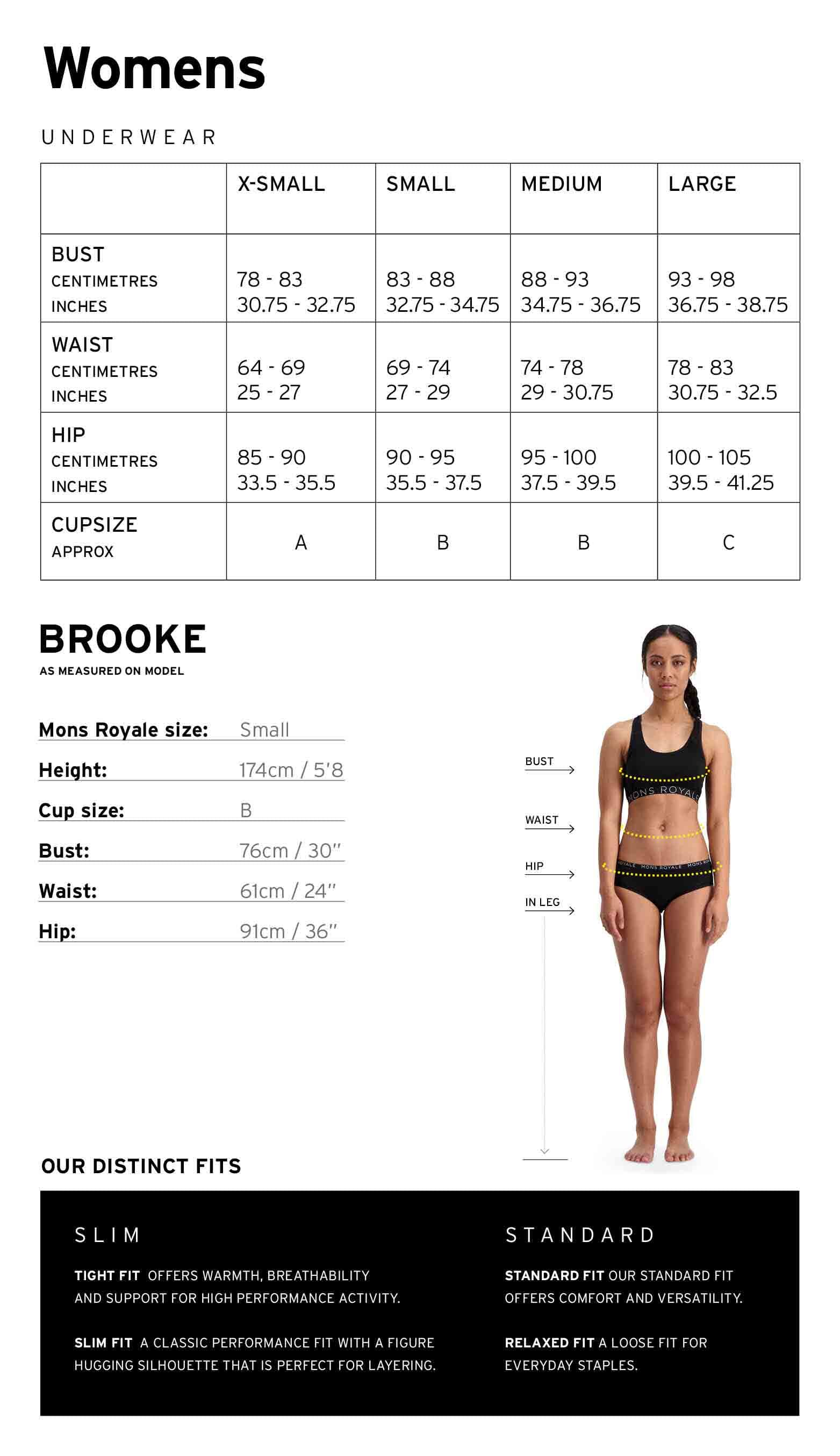 Mons Royale Womens Underwear Size Chart
